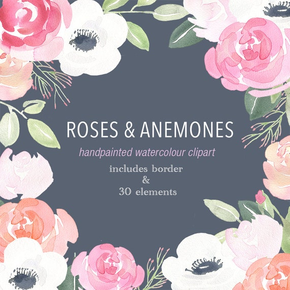 Watercolour Clipart Floral Border Roses Amp Anemones