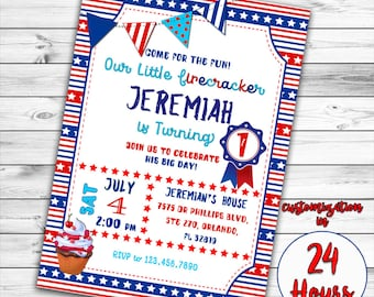 4th of July Invitation, First birthday Invitation, Patriotic First Birthday invitation, Red white and blue, Fourth of July Birthday Invite