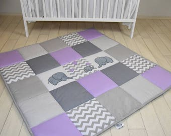 Elephant playmat, purple gray play mat, floor gym crawl mat, baby mat thick large, soft baptism gift for boys and girls