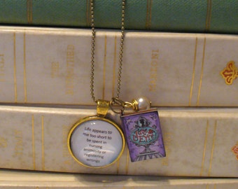Book Nook Necklace, Jane Eyre Necklace, Quote Necklace, Literature Necklace, Antique Gold, Pearl, Bead chain, Charlotte Bronte, MarjorieMae