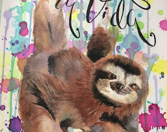 Baby Sloth Pura Vida Acrylic Painting Full Color Watercolor COSTA RICA SOUVENIR