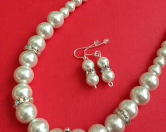 White Pearl Necklace, White Pearls, White Pearls Jewelry,  White Necklace, Elegant Necklace, Ships From USA