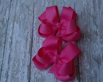"""Girls Hair Bows Hot Pink Boutique 3"""" Double Layer Hairbows Set of 2 Pigtail Bows Hot Pink Hair Bows"""