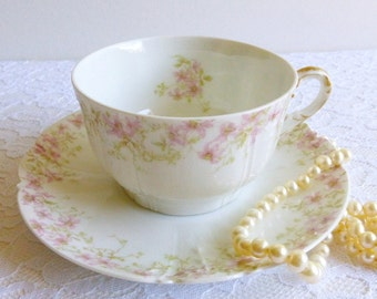 Antique GDA Limoges Teacup & Saucer, Made in France, c. 1900. Pink Blossom, Greenery. Perfect for a Parisian Inspired Tea Party, Gift, Prop