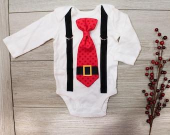 Santa Tie and Suspender Bodysuit Outfit. Newborn Boy Christmas Outfit. Santa Claus Chevron tie. Newborn boy toddler boy christmas shirt