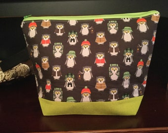 Camper Owls with knitted hats,  Zippered Knitting Project Bag