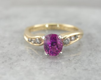 Asymmetrical Pink Sapphire Engagement Ring with Diamond Accented Shoulders 526XE5-N
