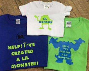 Help I've Created a Monster & Lil Monster Vinyl T Shirt or Bodysuit