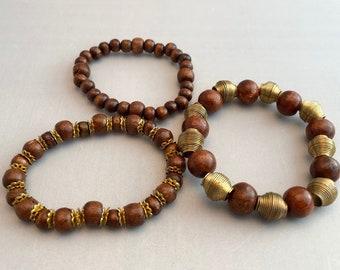 African Inspired Wooden Bracelets set of 3