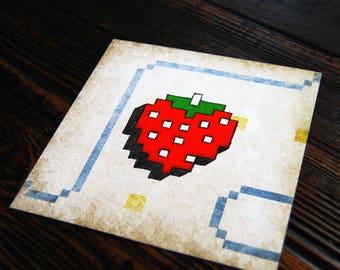 Pac Man Strawberry - 8 bit - video game art - retro gaming - wall art - art prints - geek art - Ready Player One