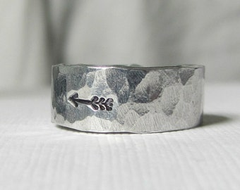 Mens Arrow Ring- Sterling Silver-- Hammered