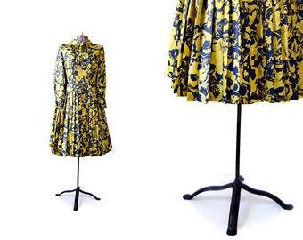 Silk Dress, 1950s Dress, 50s Dress, Yellow Dress,  Long Sleeve DressFloral Print Dress, yellow and black, vintage Dress