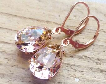 Blush Pink Rose Gold Earrings, Swarovski 14K Rose Gold Filled Leverbacks, Rhinestone Teardrop Crystals, Bridesmaid Gifts, Bridal Jewelry