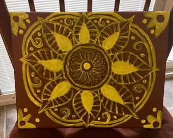 Brown and yellow Bohemian freehand acrylic mandala painting