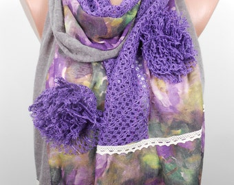 Clothing Gift Purple Scarf Shawl Floral Scarf Winter Scarf Accessories  Travel  Mothers Day Gift For Her For Wife For Mom