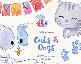 Cat Clipart Dog Clipart Watercolor Clipart Cute Cartoon Bee Banner Arrow Birthday Invitation Scrapbook Blog Planner DIY