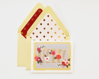 Hello Floral Note Card