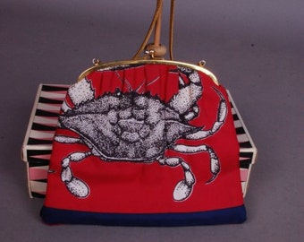 Silky maritime handbag for warm summer nights out 1950s crab cancer star sign