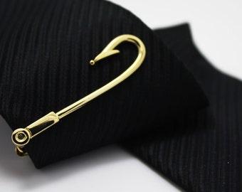 Fish Hook, Tie Clip, Hero Accessories, Golden Accessories, Novelty Accessories, Gift For Man