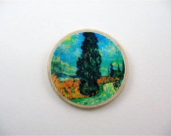 Impressionist Tree No 3 / Fridge Magnet / Recycled Cream Poker Chip / Wood