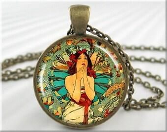 Mucha Monaco Pendant, Monaco Monte Carlo Necklace, Art Nouveau Jewelry, Round Bronze, Gift Under 20, Alphonse Mucha Art 469RB