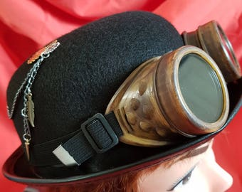 New one off unique black velour bowler hat steampunk (46)