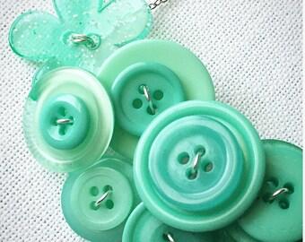 Button Necklace - Aqua Ocean