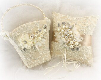 Flower Girl Basket,Wedding Ring Pillow,Champagne,Ivory,Gold,Ring Bearer Pillow,Pearl Basket,Pearl Pillow,Lace Pillow,Lace Basket,Elegant