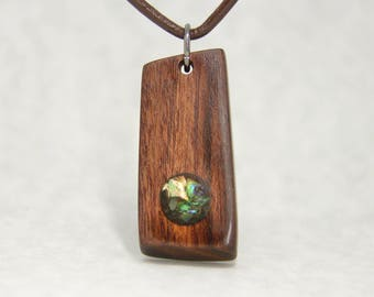 Rosewood and Paua Shell Pendant Necklace