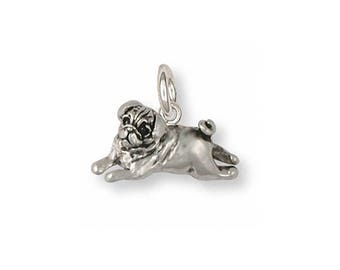 Pug Charm Solid Sterling Silver Handmade Pug Jewelry by Esquivel and Fees  PG29-C