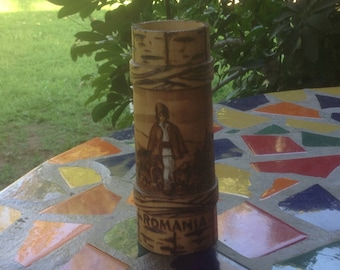 Vintage wooden Romanian hand burned and etched stein with shepherd and sheep design