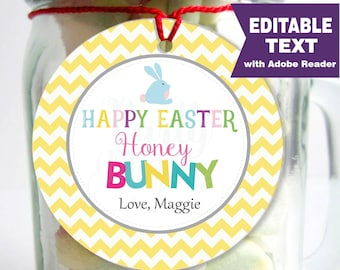 Editable Printable Easter Tag, Happy Easter Honey Bunny Party Favor Sticker, Round or Square Topper, Instant Download -D258