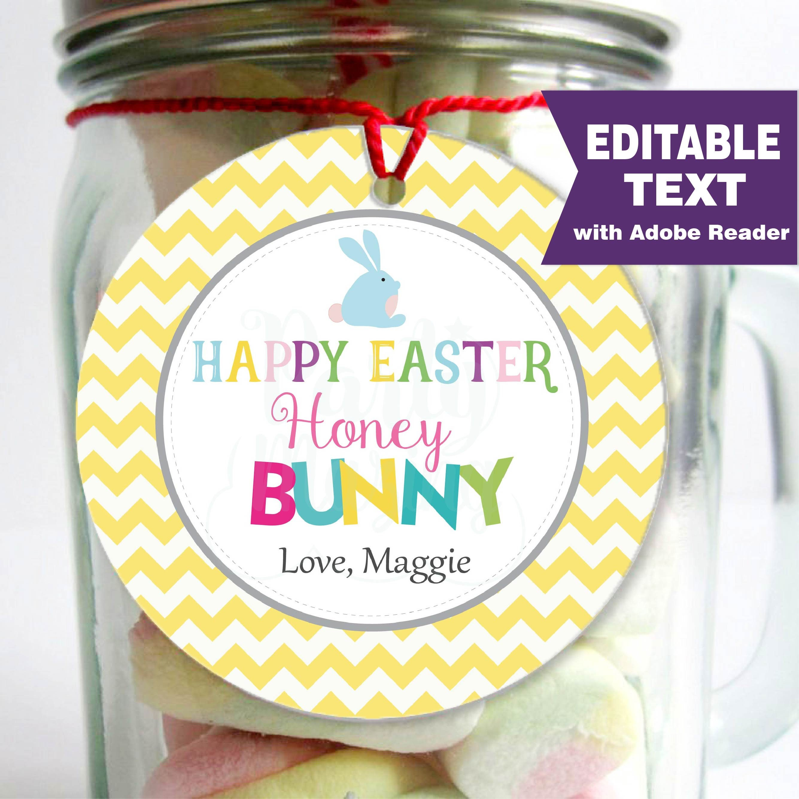 Printable Editable Easter Tag, Happy Easter Honey Bunny Party Favor ...