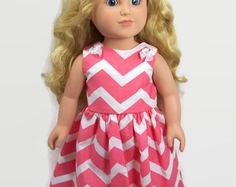 """18 Inch Doll Clothes - Coral Pink Chevron Dress with Bow Trim - Made to Fit 18"""" Dolls Like American Doll Clothes"""