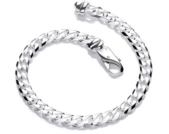 """Gents Solid 925 Sterling Silver 8"""" Chunky Curb Chain Bracelet Hallmarked"""