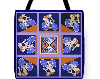 Bicycle Racer Tote Bag - Cycling Racers Decorative Throw Pillow - Cycling ReUsable Shopping Bag - Housewarming Gift Pillow - Bike Tote Bag