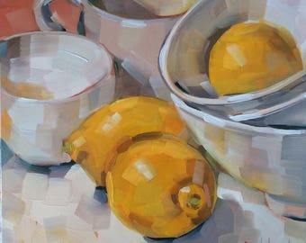 Lemons, White Bowls, Cups, Original Oil Painting, 8 x 8 inches, Free Shipping