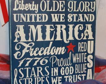 4th of July Subway Style Sign/Americana Sign/Holiday Decor/Red/White/Blue/July Decor/Wood Sign/America/United we Stand/Olde Glory