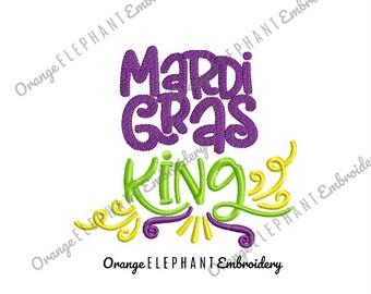 Mardi Gras King Machine Embroidery Design Digital File