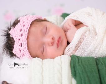 Baby girl, Crochet baby crown, Newborn headband crown, Baby girl headband, Newborn photo prop, Baby shower, Headband baby, baby girl crown