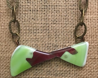 Green and Copper Abstract Bowtie Glass Necklace