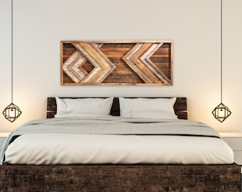 Large Reclaimed Wood Wall Art   Chevron   Behind Bed Wall Art   Barn Wood