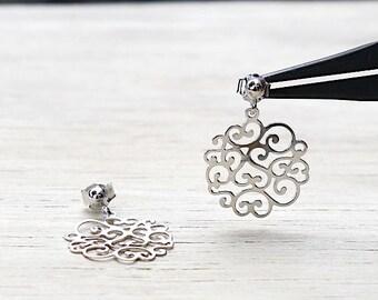 Silver earrings 925 arabesque pattern
