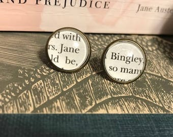 Literary Earrings, Pride and Prejudice Book Page Under Glass