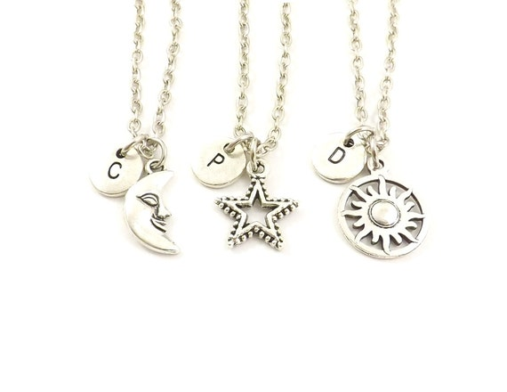 Best 3 Best Friend Necklaces Sun Moon Star Personalized Initial JU78