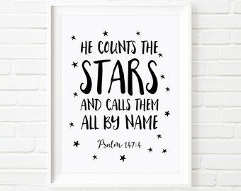 Kids Prints, nursery decor, Printable Art, He counts the stars Psalm 147:4, nursery art, children's print, black and white, scripture print