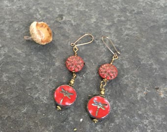 Red Dahlia and Dragonfly Czech Glass Dangle Earrings \\  Red Drops \\ Whimsical Woodland Fairie Earrings \ Product ID: RDDF817