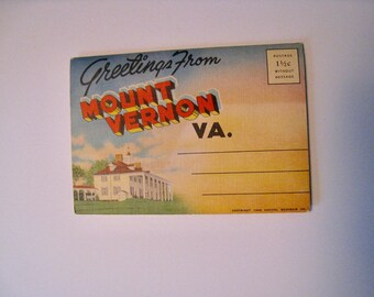 Greetings from Mount Vernon Virginia. 1946 folio of photographs. 12 views of the falls by night. Capitol Souvenir Co.