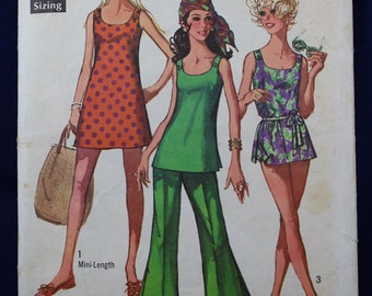 Vintage Sewing Pattern for a Woman's Bathing Suit, Mini-Dress & Trousers in Size 14 - Simplicity 8246