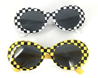 Checkered /Yellow  Oval Mod Stlye Vintage,Kurt Sunglasses 90s ,Clear Oval Sunglasses